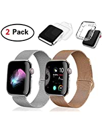 (2 Pack) Compatible with Apple Watch Band 38mm 40mm with Case, I.P Stainless Steel Mesh with Adjustable Magnetic Closure