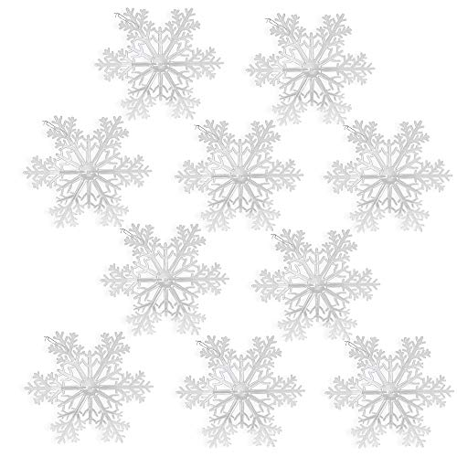 BANBERRY DESIGNS Large Snowflakes - Set of 10 Clear Acrylic Large Snowflakes Frosted Tips - Approximately 12
