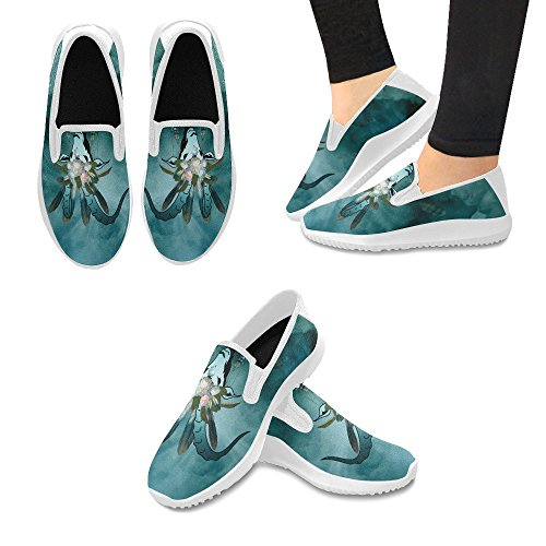 InterestPrint Skull Of Flowers Lady Pattern Slip on Canvas Sneakers for Women Goat With Feathers and Flowers L07HIC