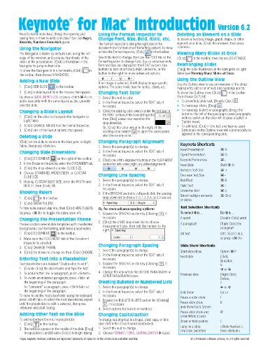 Keynote for Mac Quick Reference Guide, version 6.2: Introduction (Cheat Sheet of Instructions, Tips & Shortcuts - Laminated Card)