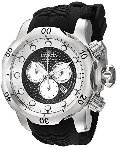 32 Ss Stainless Steel Watch - Invicta Men's Venom Stainless Steel Quartz Watch with Silicone Strap, Black, 32 (Model: 20439)