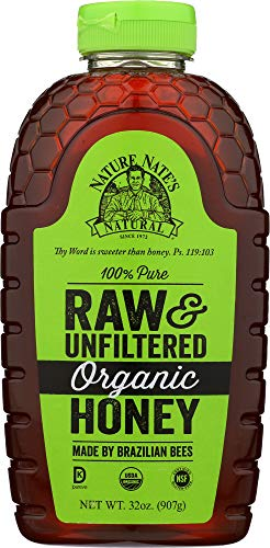 (Nature Nate's 100% Pure Raw & Unfiltered Organic Honey; 32-oz. Squeeze Bottle; Product of Brazil and Uruguay; Enjoy Honey's Balanced Flavor and Wholesome Benefits, Just as Nature)