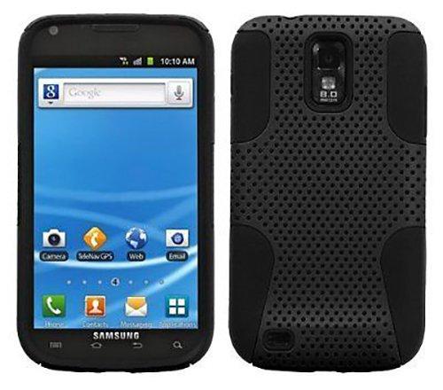 Black MESH Hybrid Soft Skin Hard CASE Cover for T-Mobile Samsung Galaxy S2 T989 (Galaxy Tmobile Case Samsung S2)