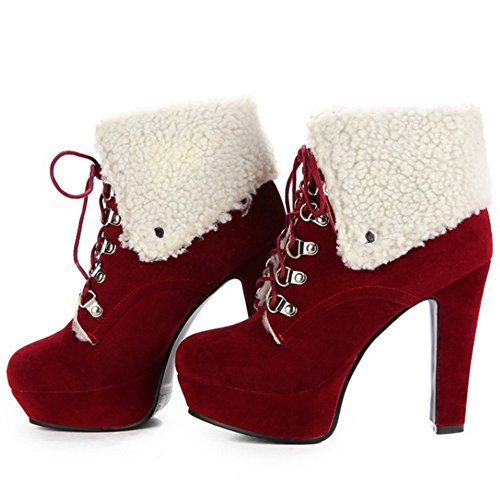 Red Fashion Up Boots Lace KemeKiss Women C78wqWaz
