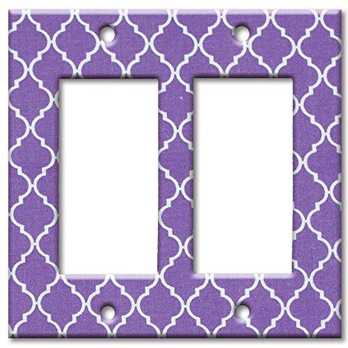 Art Plates brand - Double Gang Rocker Switch/Wall Plate - Purple Geometric