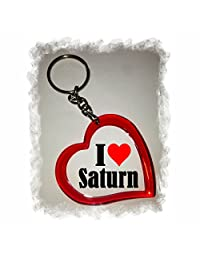 "Exclusive Gift Idea: Heart Keyring ""I Love Saturn"", a Great gift that comes from the Heart - Backpack pendant - love pendant - Keychains- Keyring- Christmas Gift"