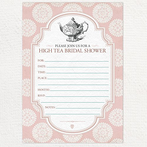 pink victorian rosette tea party bridal shower invitation 10 fill in blank 5x7 invites