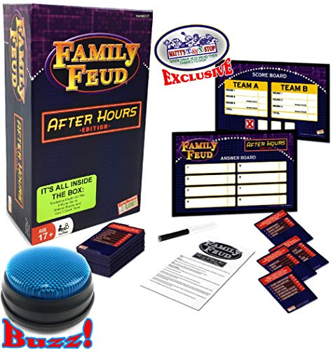 Family Feud After Hours Edition with Electronic Light-Up Blue 3 Mode Game Answer Buzzer and Count Down Timer - Matty's Toy Stop Exclusive! (Family Feud Game Board)