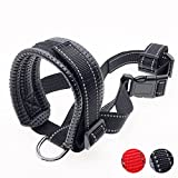 Pettycart Nylon Dog Muzzle for Large Dogs Prevent from Biting,Barking and Chewing, Adjustable Loop and Reflective Stripe (M, Black)