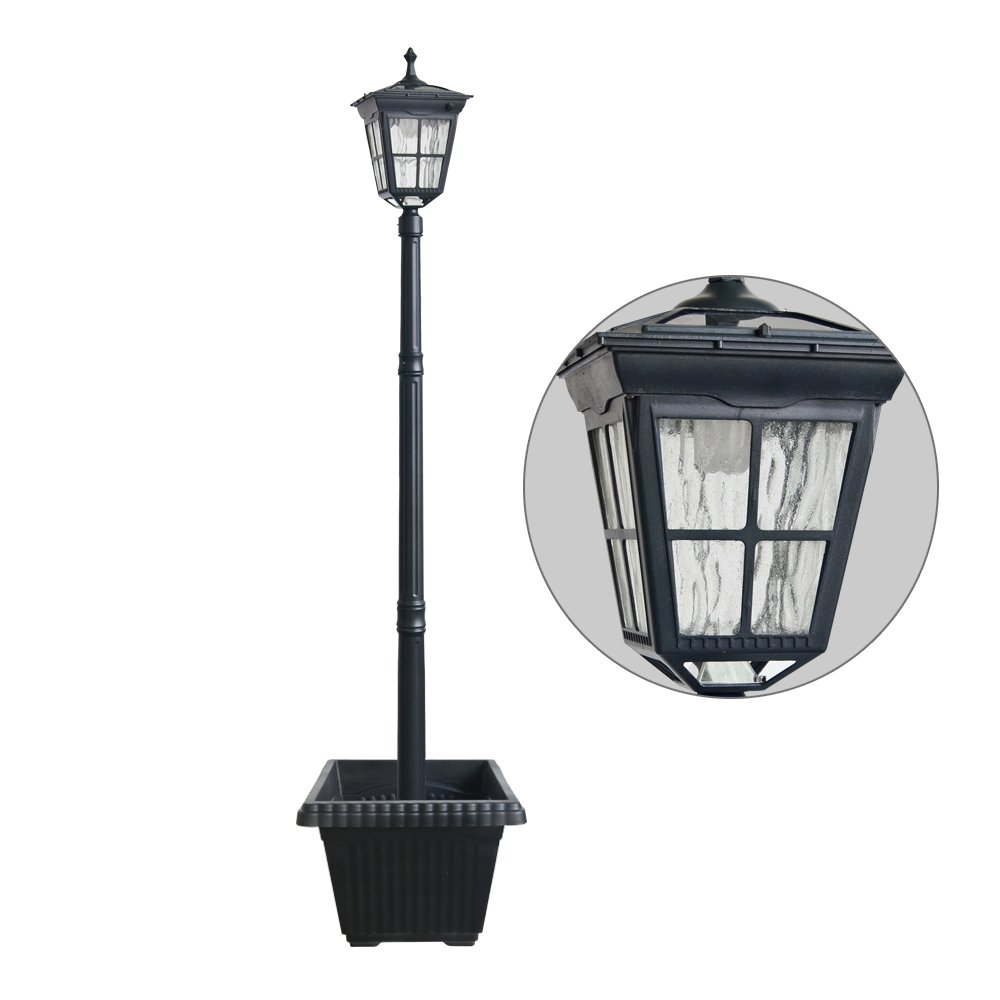 Kemeco ST4311AHP 6 LED Cast Aluminum Solar Lamp Post Light with Planter for Outdoor Landscape Pathway Street Patio Garden Yard by Kemeco