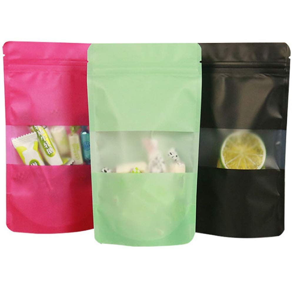 Plastic Stand Up Bags Sealable Sachet Ziplock Matt Clear Food Pouch with Handles