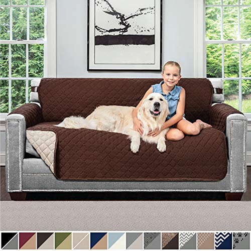 Sofa Shield Original Patent Pending Reversible Small Sofa Protector for Seat Width up to 62 Inch, Furniture Slipcover, 2 Inch Strap, Couch Slip Cover Throw for Pets, Kids, Cats, Sofa, Chocolate Beige
