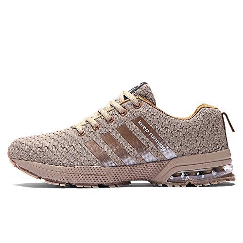 Damen Atmungsaktiv Trainers Sneakers Beige Herren Turnschuhe Sportschuhe Running Laufschuhe HMIYA Fitness RW8ASUg8
