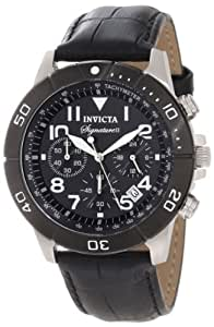 Invicta Men's 7345 Signature Chronograph Black Dial Black Leather Watch