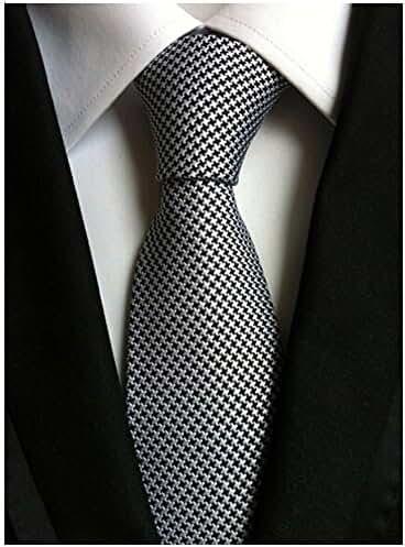 Allbebe Men's Fashion Black White Jacquard Woven Silk Microfiber Formal Necktie