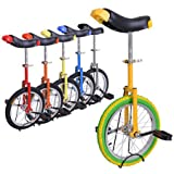 """16 Wheel Unicylce with Large Saddle,adjustable Height from 28"""" to 32"""" with Unicycle Stand for Easy Storage"""