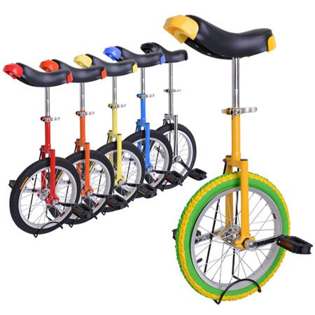 """16' Wheel Unicylce with Large Saddle,adjustable Height from 28"""" to 32"""" with Unicycle Stand for Easy Storage"""