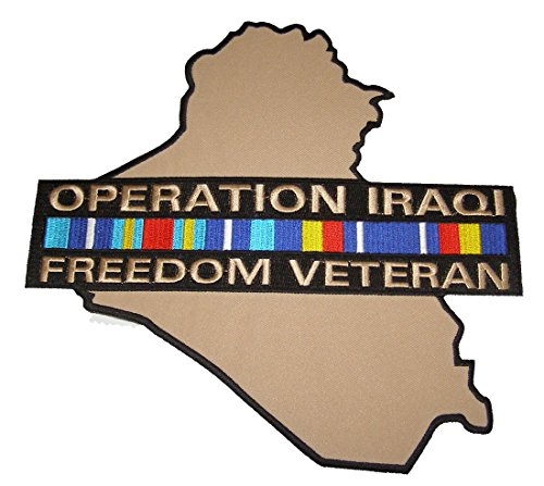 OPERATION IRAQI FREEDOM VETERAN LARGE Cut Out Back Patch. Svc Ribbon OVER Country - Veteran Owned Business (Svc Ribbons)