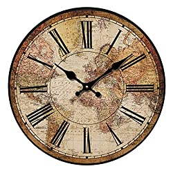 HUABEI Retro Wall Clock, 12 Vintage World Compass Map Travel Lover Silent Wooden Wall Art Decor Analog Battery Operated Non-Ticking Bedroom Living Room Kitchen Office