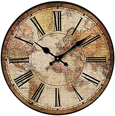"""HUABEI Retro Wall Clock, 12"""" Vintage World Compass Map Travel Lover Silent Wooden Wall Art Decor Analog Battery Operated Non-Ticking Bedroom Living Room ..."""