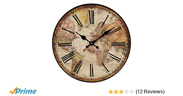 """Amazon.com: HUABEI Retro Wall Clock, 12"""" Vintage World Compass Map Travel Lover Silent Wooden Wall Art Decor Analog Battery Operated Non-Ticking Bedroom ..."""