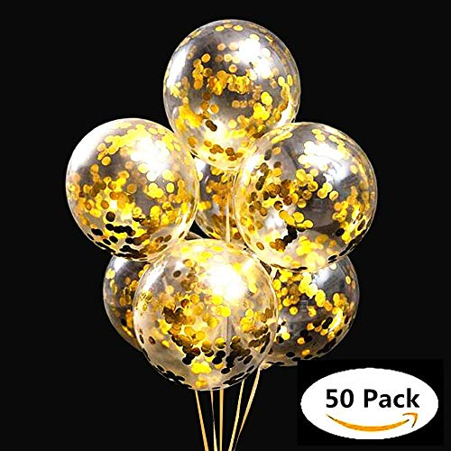 Gold Confetti Balloons 50 pieces,Balloon Strap Rope 30 meters,12 Inch Latex Party Balloons with Golden Paper Confetti Dots Pre-filled, for Events Birthday Wedding Party Decorations