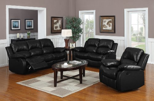 3 Pc Recliner Sofa Set Black Bonded Leather Buy Online In Uae