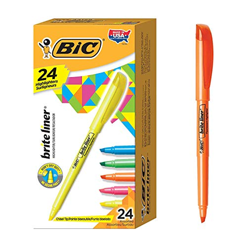 Brite Liner Highlighter, Chisel Tip, Assorted Colors by BIC (Image #1)