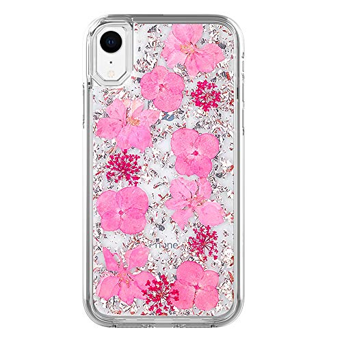 iPhone XR Case for Girls/Women,YYQUEEN Pinky Petals Premium Real Dried Flower Design and Anti-Shock and Anti-Slip and Wireless Charging Cover for iPhone XR 6.1