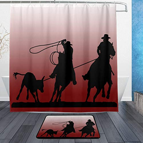 team roping silhouette shower curtain
