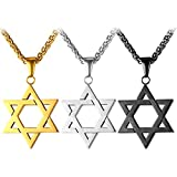 U7 Jewish Jewelry Megan Star of David Pendant Necklace Women Men Chain Black Gun Plated/18K Gold Plated/Stainless Steel Israel Necklace - 2 Styles (Classic David Star,Red Rhinestone Star)