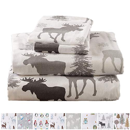 Home Fashion Designs Stratton Collection Extra Soft Printed 100% Turkish Cotton Flannel Sheet Set. Warm, Cozy, Lightweight, Luxury Winter Bed Sheets Brand. (Full, Moose)