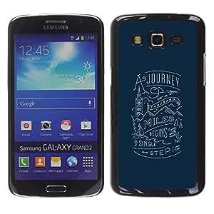 FlareStar Colour Printing Journey London Blue Travel Inspiring cáscara Funda Case Caso de plástico para Samsung Galaxy Grand 2 II / SM-G7102 / SM-G7105