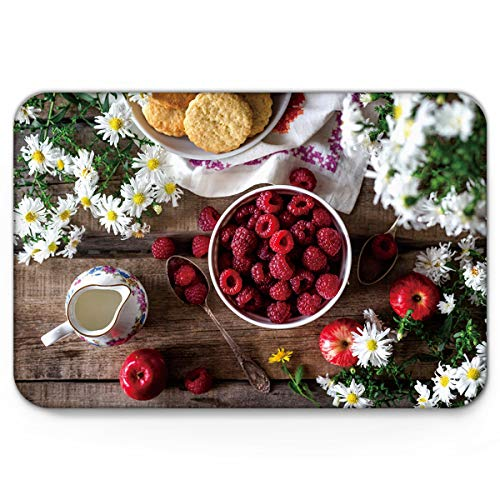 - Doormats Raspberry Flower Teacup Apple Food Welcome Mats 20'' x 31.5'', Non Slip Backing Rubber Shoes Scraper Mud Dirt Scraper Entrance Mats Rugs for Indoor Floor Front Door Kitchen Bathroom Bedroom