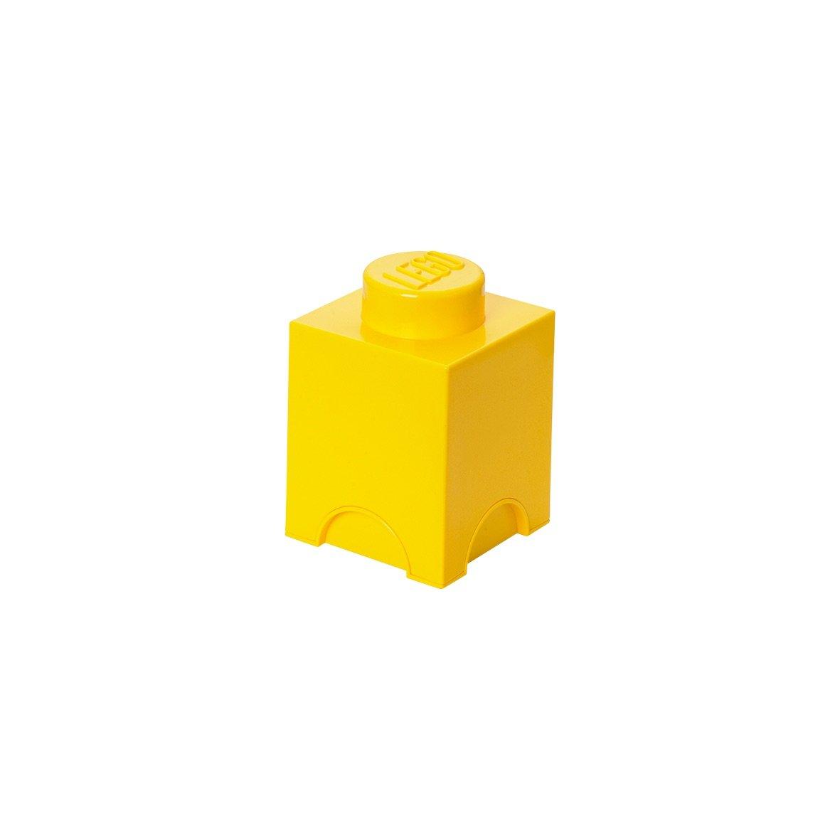 LEGO 40011732 - Caja en forma de bloque 1, color amarillo [importado de Alemania] FBA_40011732 Bloque de Almacenaje Papás Frikis brick