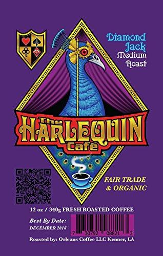 Harlequin Café Espresso Coffee- Fresh French & Medium Roast Ground- Gourmet Espresso Whole Coffee Bean- Fair Trade & Organic Robusta Arabica Blend Coffee- Chocolate 16oz (Diamond Jack - Medium Roast) (Brown Diamond Diamond Cafe)