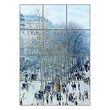 """Boulevard Des Capucines (Monet) Vertical Tile Mural Satin Finish 16""""Hx12""""W 4 Inch Tile"""