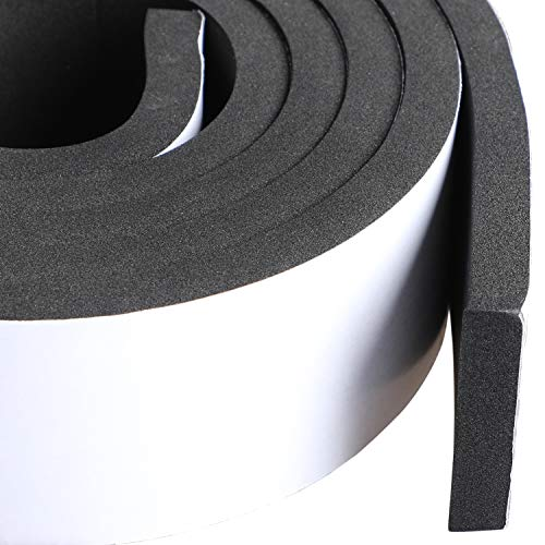 (Foam Weather Stripping Adhesive 2 Inch Wide X 3/8 Inch Thick, Door Jamb Weather Seal Neoprene Window Foam Tape Outdoor Car Weather Stripping Roll, Total 6.5 Feet Long)