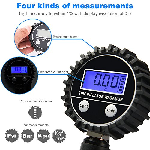 Digital Tire Pressure Gauge MICTUNING Heavy Duty 200 PSI Tire Inflator Air Pressure Gauge with Air Chuck, Valve Extender and Compressor Accessories Black Fits Car Truck Bike Motorcycle by MICTUNING (Image #3)