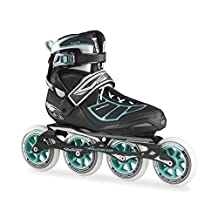 Rollerblade New 2015 TEMPEST W 100C Premium Fitness/Race Skate with 4x100mm Supreme Wheels - SG9 Bearings, Black/Blue, US Women's 6 by Rollerblade