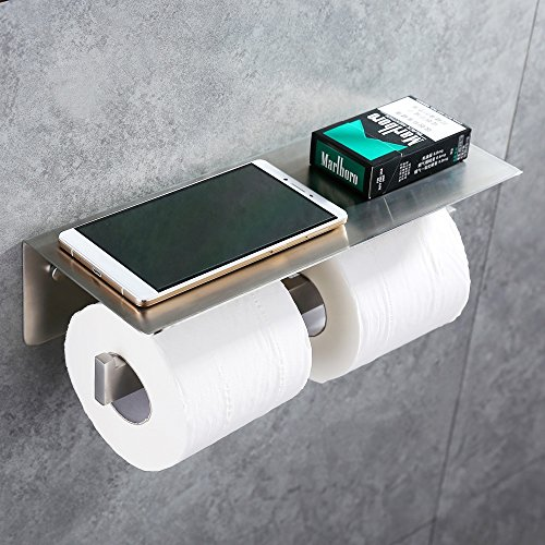 Double Toilet Paper Holder, APL SUS304 Stainless Steel Bathroom Paper Tissue Holder with Mobile Phone Storage Shelf Rack (Brushed Nickel)