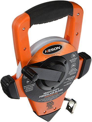 Keson OTRS18100 Fiberglass Measuring Tape with Hook, Speed Rewind (Graduations: ft, in. 1/8), 100-Foot