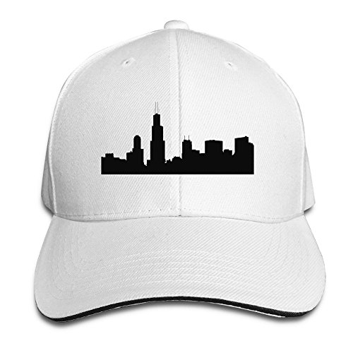 Chicago Skyline Stencil Silhouette White Adjustable Trucker Caps Unisex Sandwich Hats
