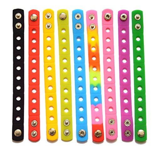 8 Pcs 8 Colors Adjustable Jibbitz Croc Wrist Bracelet Band Party (Crocs Bracelet)