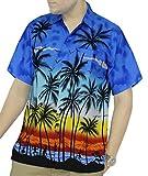 La Leela Hawaiian Shirt For Men Short Sleeve Front-Pocket Palm Royal Blue 3XL