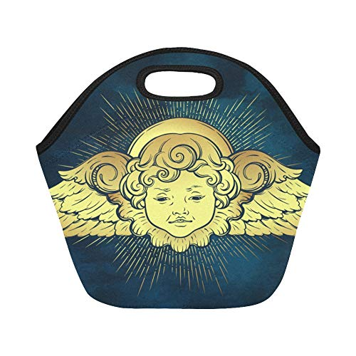 Insulated Neoprene Lunch Bag Gold Cherub Cute Winged Curly Smiling Large Size Reusable Thermal Thick Lunch Tote Bags Lunch Boxes For Outdoor Work Office ()