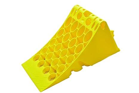 Cuña de plástico, amarilla, con protección galvanizada antideslizante, para camión o autobús