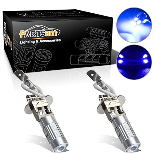 Partsam 2X H3 Xenon Blue LED 5730 SMD Driving Fog Light Extremely Bright Car Fog Light Daytime Running Led Bubs Compatible with Jeep