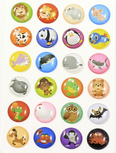 Red Rock 3D Semi-circular Colorful 24 Pieces Goofy Zoo Animals Lion Tiger Elephant Pig Cow Panda Penguine Bird Whale Shark Fat Cat Dog Turtle Bear Crocodile Owl Chicken Bat Horse ()