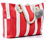 Large Canvas Shoulder Bag - Beach Tote with Cotton Rope Handles and Cute Pompom (Pink/White)